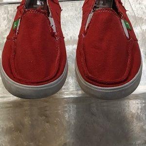 Sanuk Shoes - Sanuk Red canvas Distressed slip on size 8
